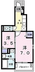 埼玉県川越市岸町2丁目の賃貸アパートの間取り