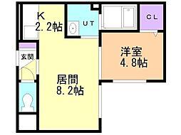 HAL CASA 新札幌 4階1LDKの間取り