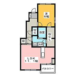 アンブラッセB[1階]の間取り