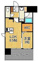 グランフォーレ小倉シティタワー 8階1LDKの間取り