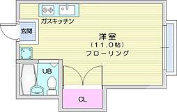 仙台市地下鉄東西線 八木山動物公園駅 徒歩22分の賃貸アパート 2階ワンルームの間取り