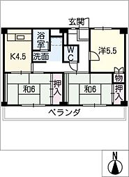 ビレッジハウス三好 2号棟[4階]の間取り