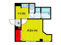 アクア キアーロ 2階1Kの間取り