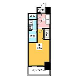 S−RESIDENCE四日市元町 7階1Kの間取り