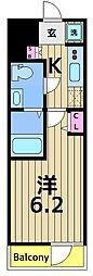 SHOKEN Residence亀有 13階1Kの間取り