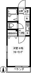 アムール柿の木坂[201号室]の間取り