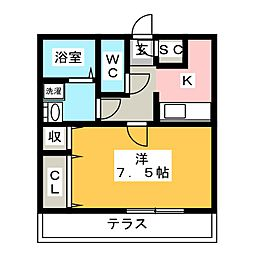 (仮)D−Room幸町 1階1Kの間取り