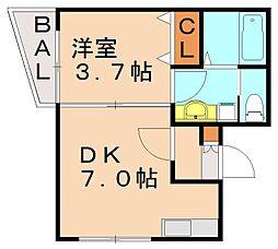 ローツェ七隈[3階]の間取り