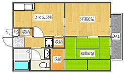 大阪府高槻市西面中2丁目の賃貸アパートの間取り