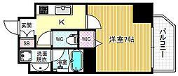 ファーストステージ京町堀レジデンス 3階1Kの間取り