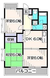 東京都小平市回田町の賃貸マンションの間取り
