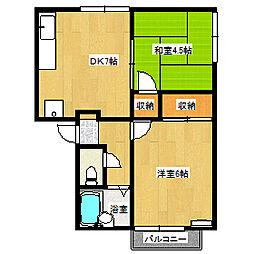 岡山県岡山市東区瀬戸町森末の賃貸アパートの間取り