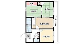 ヴィラ奥田第2ビル[3-A号室]の間取り