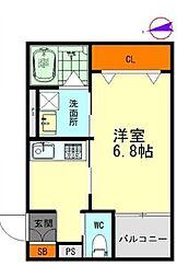 名鉄名古屋本線 栄生駅 徒歩9分の賃貸アパート 3階1Kの間取り