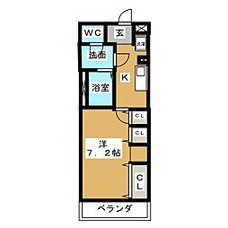 グレイス北松戸 1階1Kの間取り