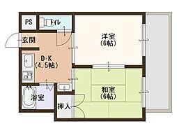 京阪本線 関目駅 徒歩4分の賃貸マンション 3階2DKの間取り