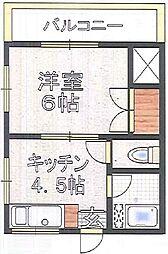 東京都文京区本駒込4丁目の賃貸アパートの間取り