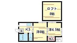 兵庫県神戸市須磨区古川町3丁目の賃貸アパートの間取り