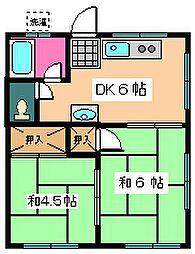 関五ハイツ[202号室]の間取り