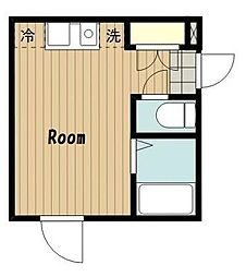 東京都大田区中央8丁目の賃貸アパートの間取り