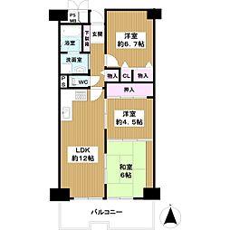近鉄南港ガーデンハイツ23棟 4階3LDKの間取り