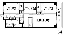 兵庫県宝塚市川面2丁目の賃貸マンションの間取り