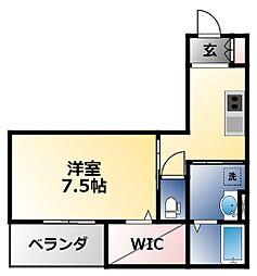ディアコート矢田 1階1Kの間取り