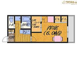 大阪府堺市北区北花田町2丁の賃貸アパートの間取り