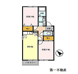 セジュール関戸 A棟[2階]の間取り