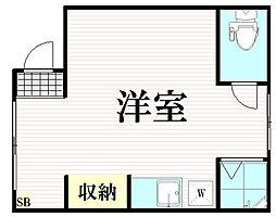 東急東横線 東白楽駅 徒歩7分の賃貸アパート 1階ワンルームの間取り