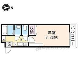 京都市営烏丸線 今出川駅 徒歩15分の賃貸マンション 3階1Kの間取り