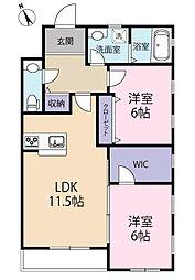 静岡県浜松市中区領家2丁目の賃貸マンションの間取り
