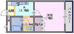 FINE145M 1階1Kの間取り
