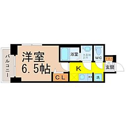 名鉄名古屋本線 山王駅 徒歩9分の賃貸マンション 5階1Kの間取り