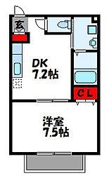 福岡県古賀市中央5丁目の賃貸アパートの間取り