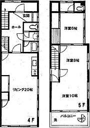 岡崎ビル 4階3LDKの間取り