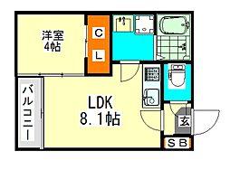 愛知県名古屋市北区瑠璃光町3丁目の賃貸アパートの間取り