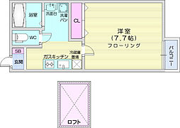 JR仙山線 東北福祉大前駅 徒歩9分の賃貸アパート 1階1Kの間取り