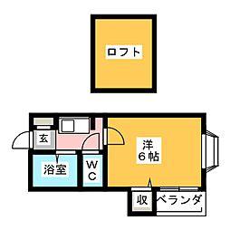 ピュア大橋弐番館[1階]の間取り