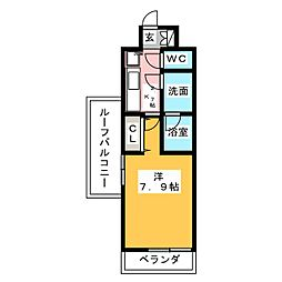 CREVISTA練馬桜台II 5階1Kの間取り