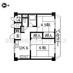 京都グランドハイツ716号室[7階]の間取り
