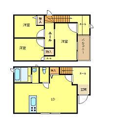 [タウンハウス] 兵庫県姫路市飾磨区構3丁目 の賃貸【/】の間取り