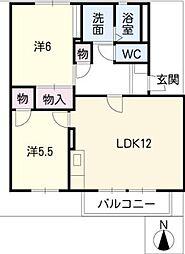 カーサ江島B棟[1階]の間取り
