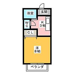 レジェンド・岩崎 B[1階]の間取り