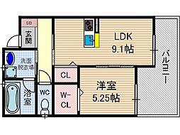 ルシア上穂東[2階]の間取り