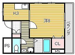 大阪府摂津市千里丘東4丁目の賃貸マンションの間取り