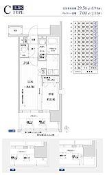 福岡市地下鉄空港線 赤坂駅 徒歩9分の賃貸マンション 8階1LDKの間取り