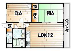 サンビレッヂ到津[4階]の間取り