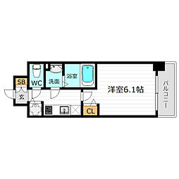 JR大阪環状線 京橋駅 徒歩8分の賃貸マンション 6階1Kの間取り