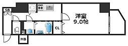 ワールドアイ天王寺ミラージュII 2階1Kの間取り